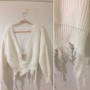 LF Sweaters - LF/BSBW chunky knit distressed sweater NWT